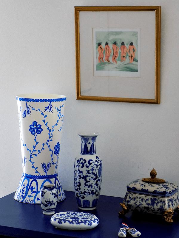 Blue white chinoiserie vase diy