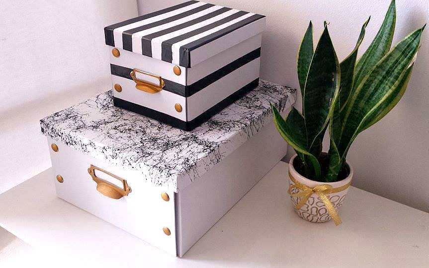 Black and white diy storage boxes