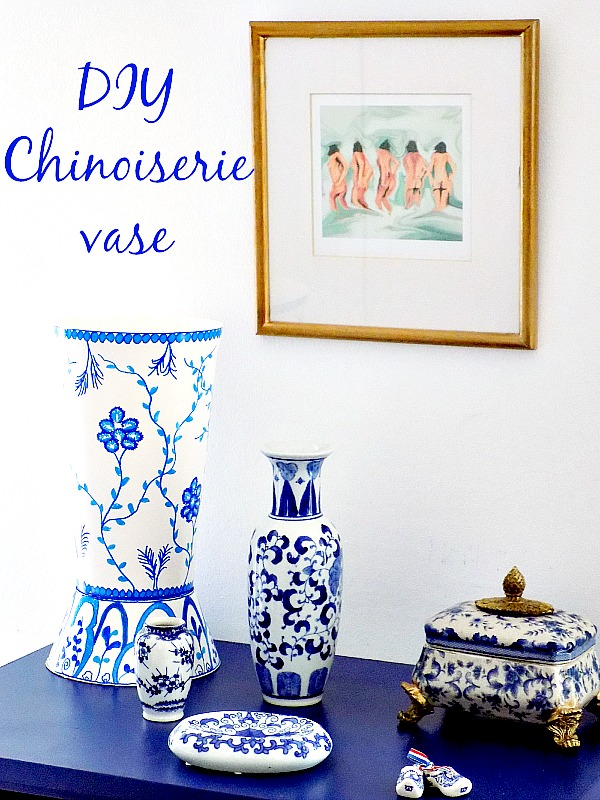 Μπλε άσπρο chinoiserie style βάζο diy