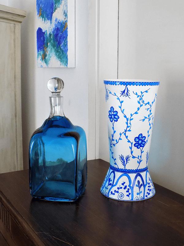 Blue white chinoiserie vase diy, blue big bottle