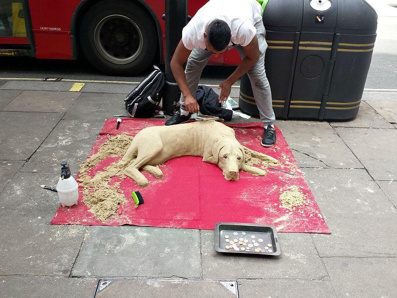 Sand dog statue