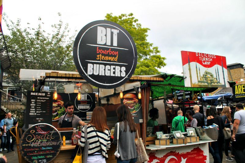 Food market London city, burgers