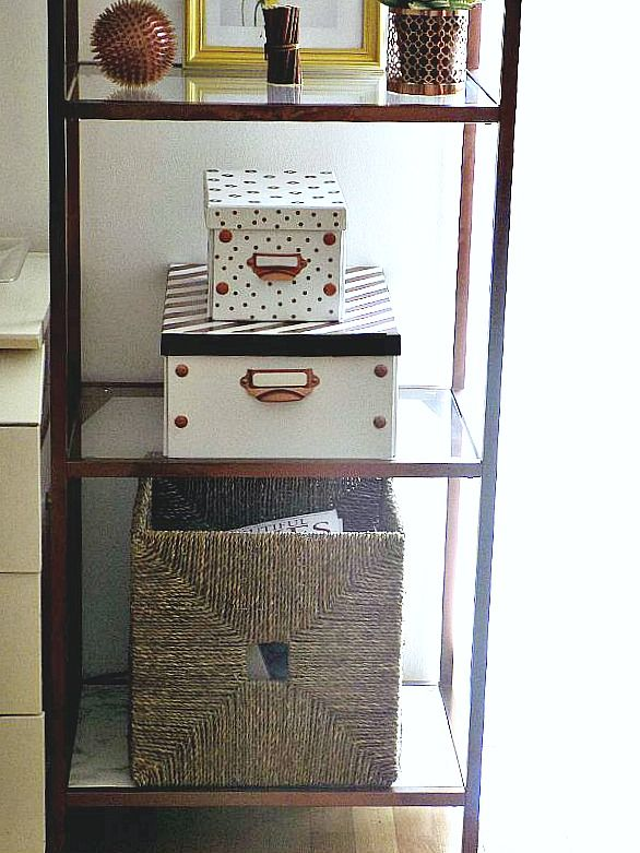 IKEA copper bookcases storage boxes