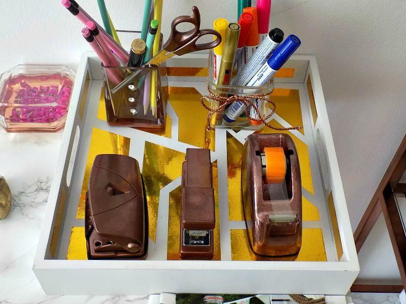 Το γραφείο μου στο σπίτι, DIY geometric gold tray, office desk accessories
