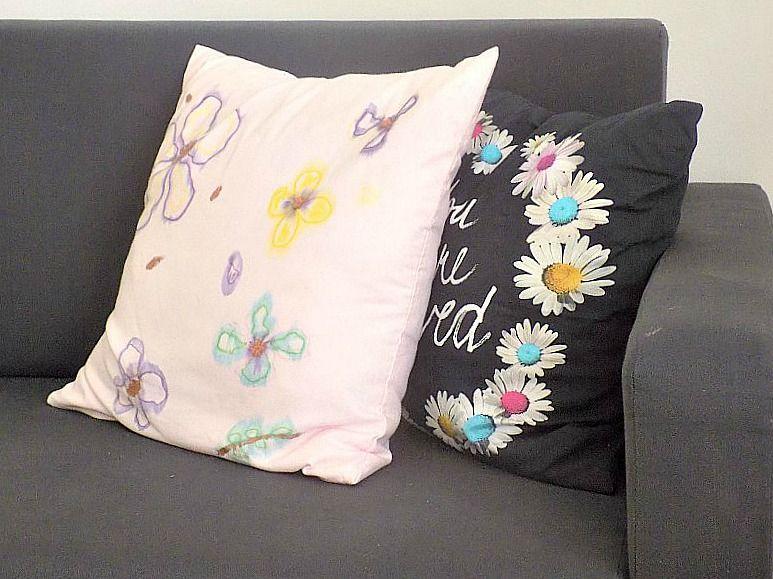 Pink watercolor pillow