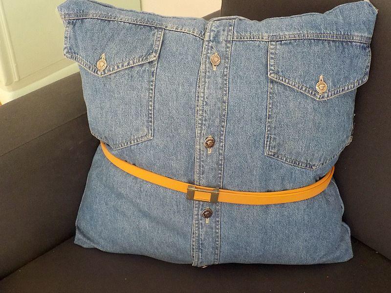 Μαξιλάρια χωρίς ράψιμο από τζην πουκάμισο