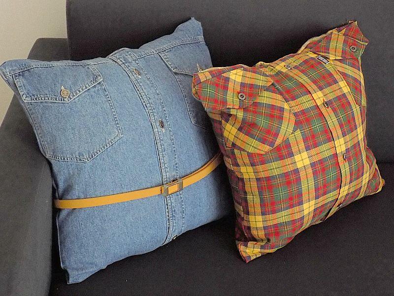 Διακοσμητικές θήκες μαξιλαριών χωρίς ράψιμο από παλιά πουκάμισα