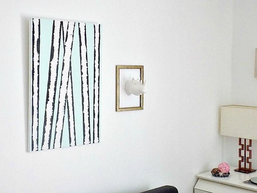 Διακόσμηση με ότι έχεις μέσα στο σπίτι, Birch trees wall art diy, hippo in a frame