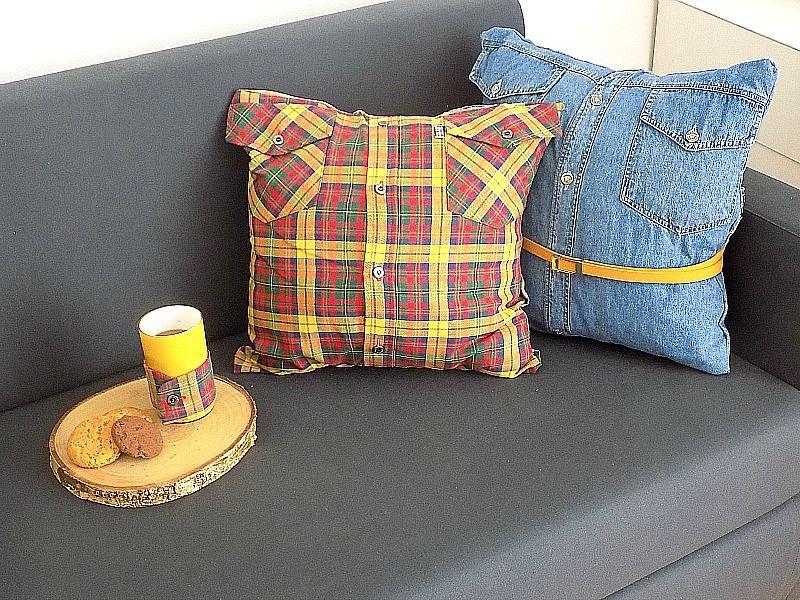 Μαξιλάρια χωρίς ράψιμο και κάλυμμα κούπας καφέ από παλιά ανδρικά πουκάμισα