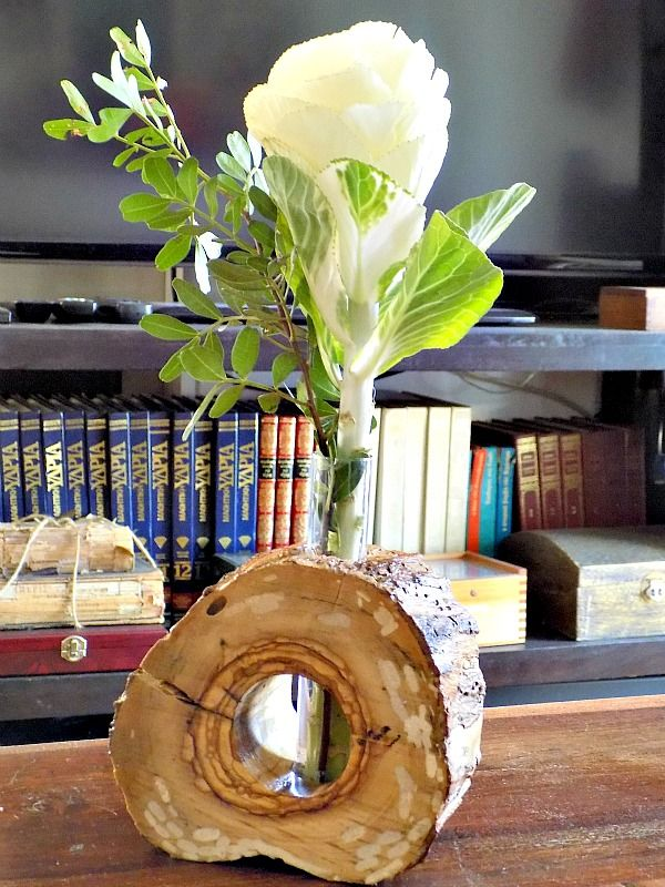 Tree slice vase diy, family room bookcases