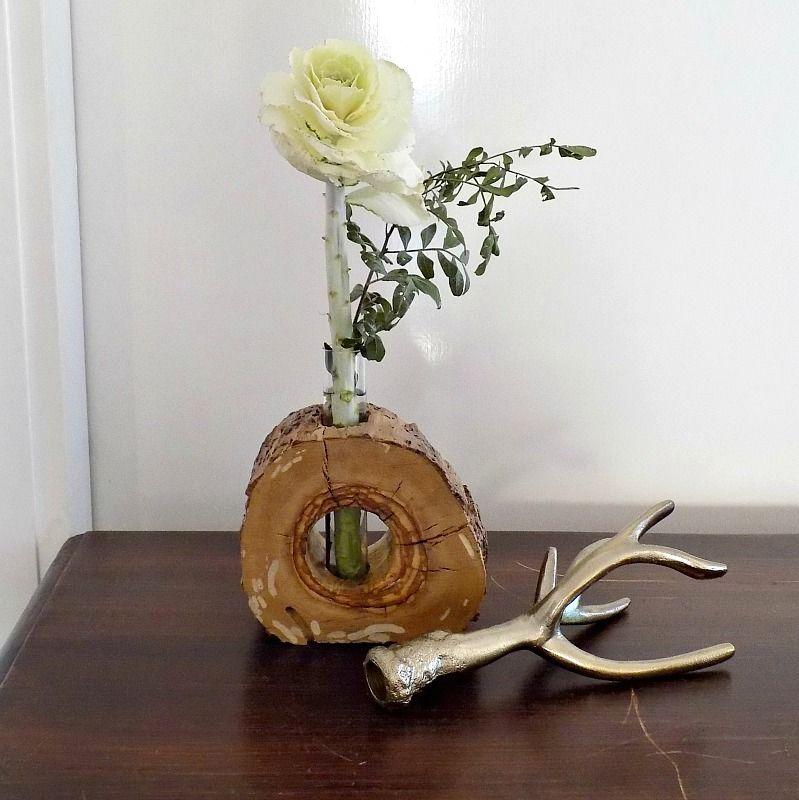 Wooden vase diy, brass antlers
