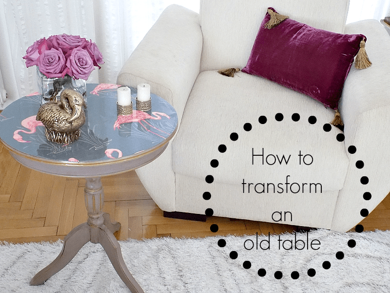 How to revise an old table with paint, wallpaper and epoxy resin