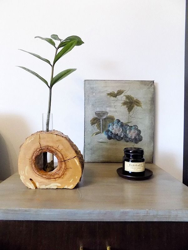 Wood slice flower vase diy