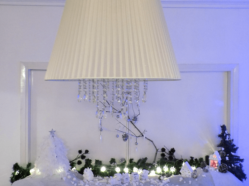 Snowy christmas landscape diy on dining room sideboard