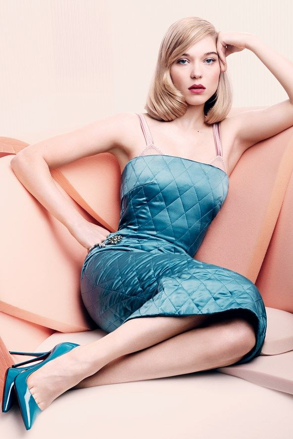 Blue satin dress, rose sofa