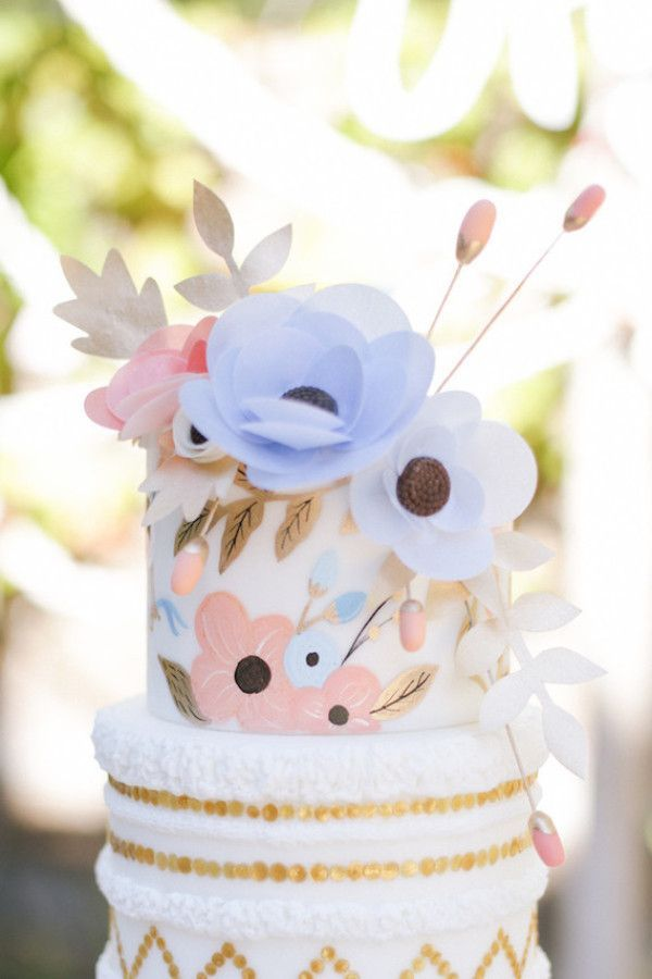 Wedding cake with pink and blue flowers