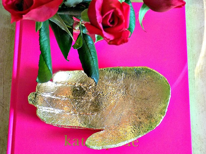 Gold clay dish diy, red roses
