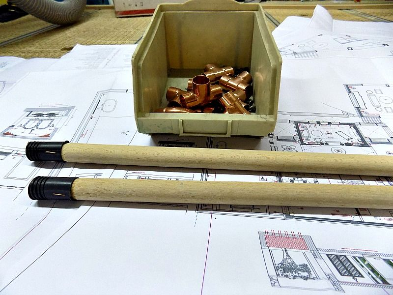 Broomsticks and copper parts