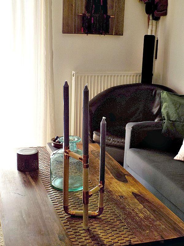 Wooden copper candle holder diy