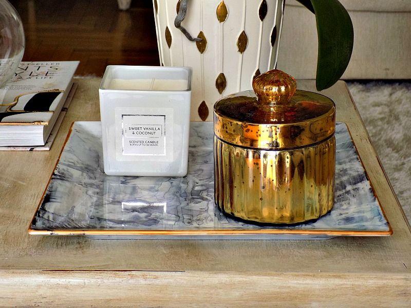 Diy faux marble plate, white votive, gold porcelain