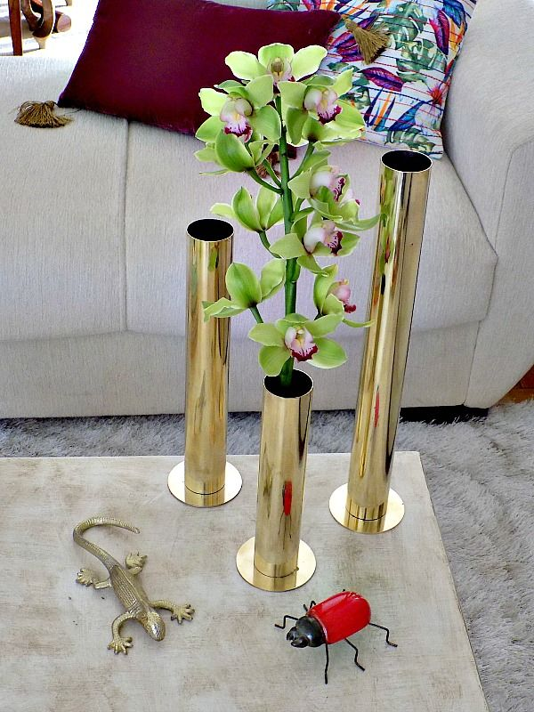 Brass tube vases diy