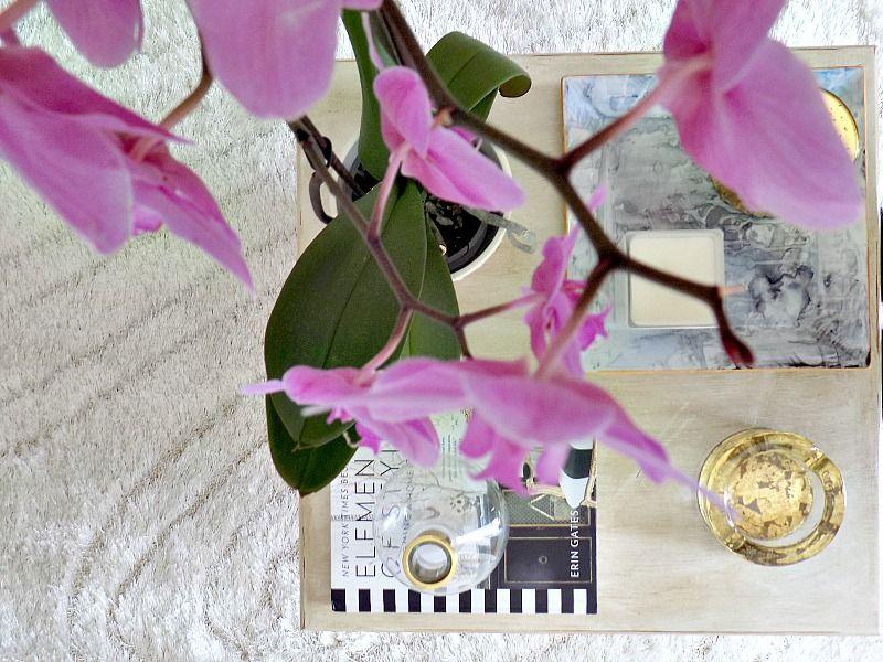 Diy faux marble plate, white votive, gold porcelain, pink orchid