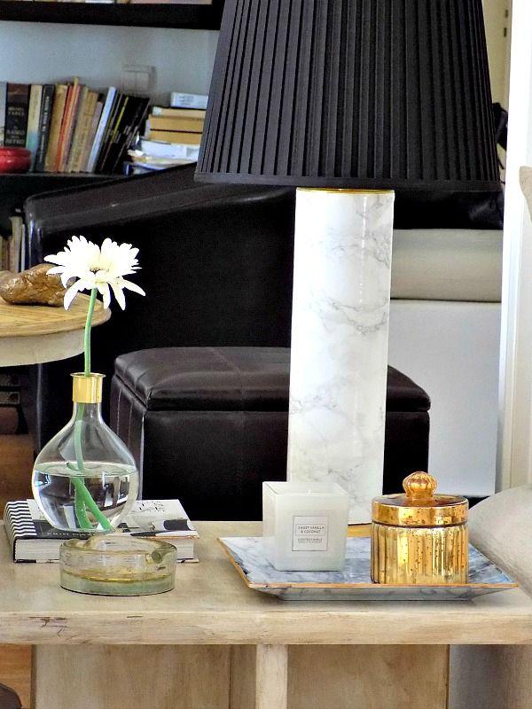 Diy faux marble plate, white votive, gold porcelain, faux marble table lamp