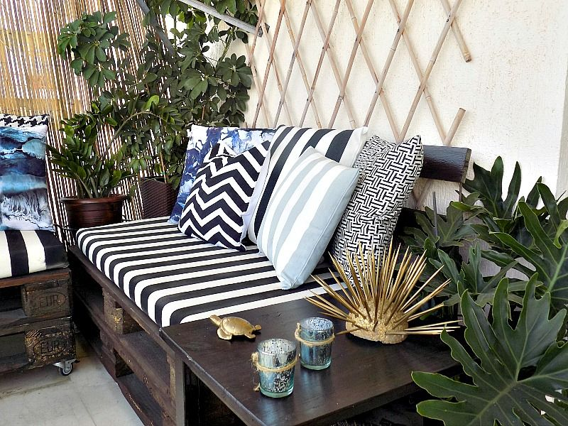 Spray painted pillows black and white