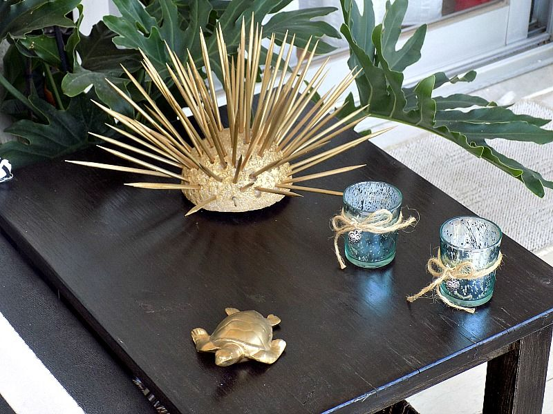 diy gold urchin and turtle