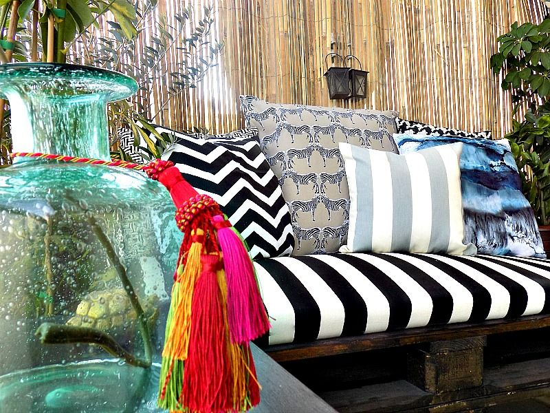 Spray painted pillows diy