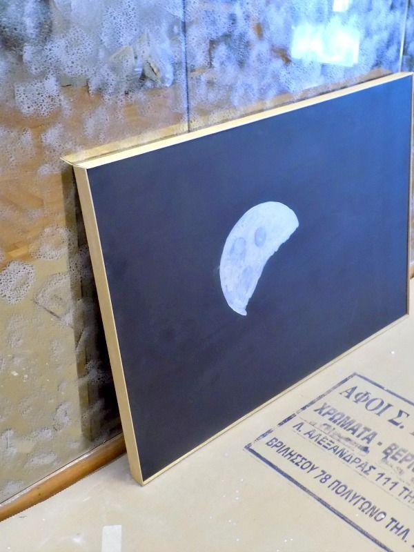 Πίνακας ασημένιο φεγγάρι πάνω σε μαύρο φόντο diy