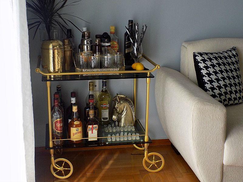 Metallic gold bar cart