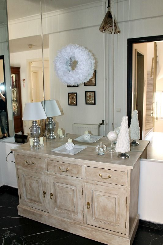 Hall entry dresser in Christmas