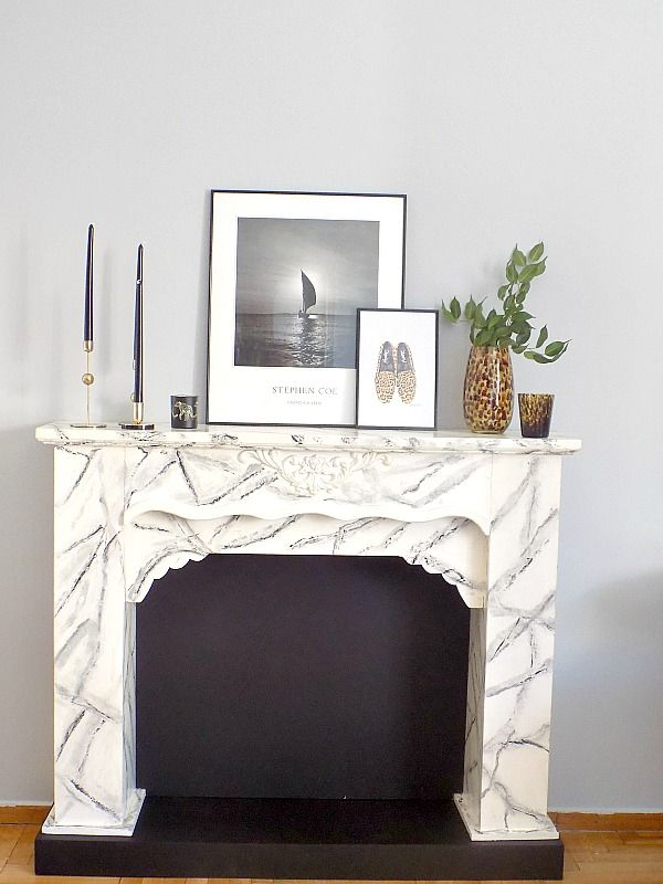 faux marble fireplace mantel diy