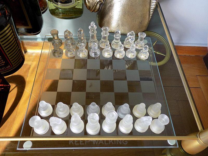 Crystal chess on a bar cart