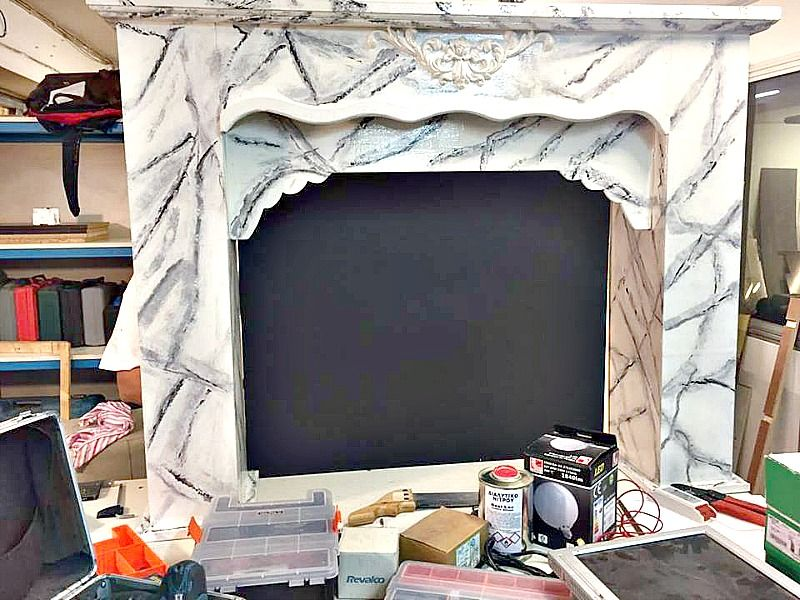 faux marble fireplace diy