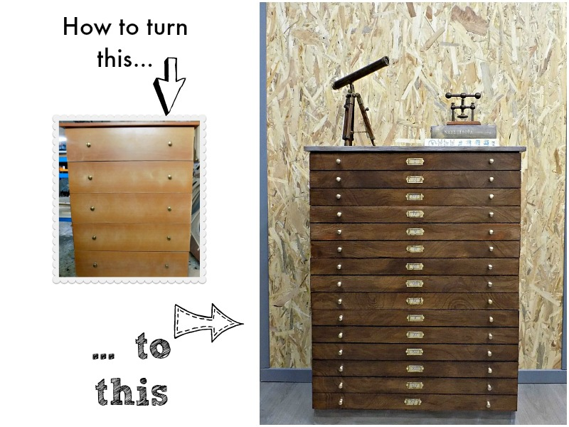 How to turn a melamine dresser to a map drawer cabinet