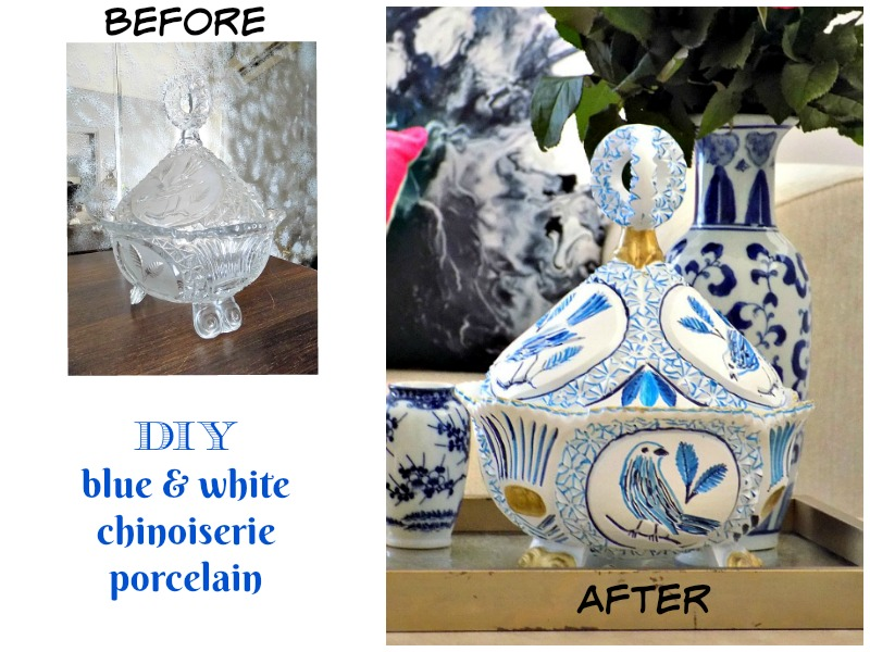 How a crystal vintage bowl turns into a blue and white chinoiserie porcelain bowl