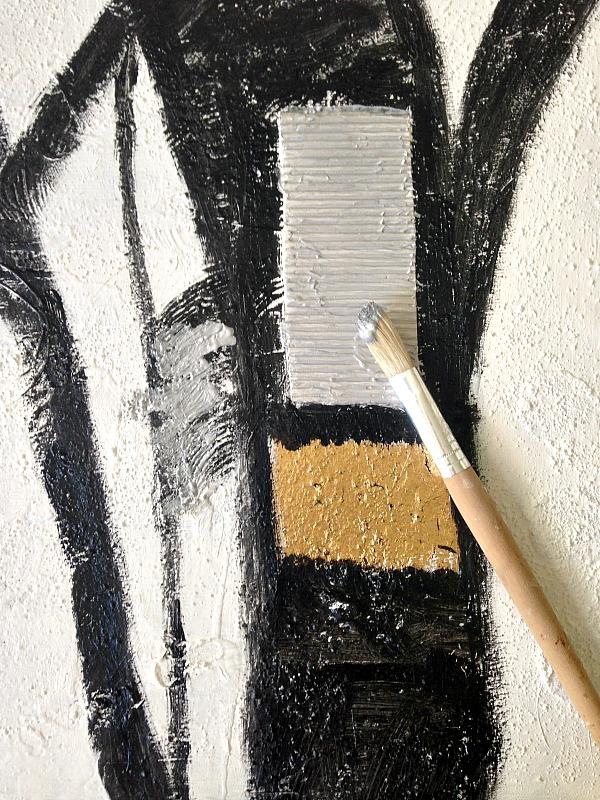 Αφηρημένη τέχνη σε άσπρο μαύρο, ασημί και χρυσό