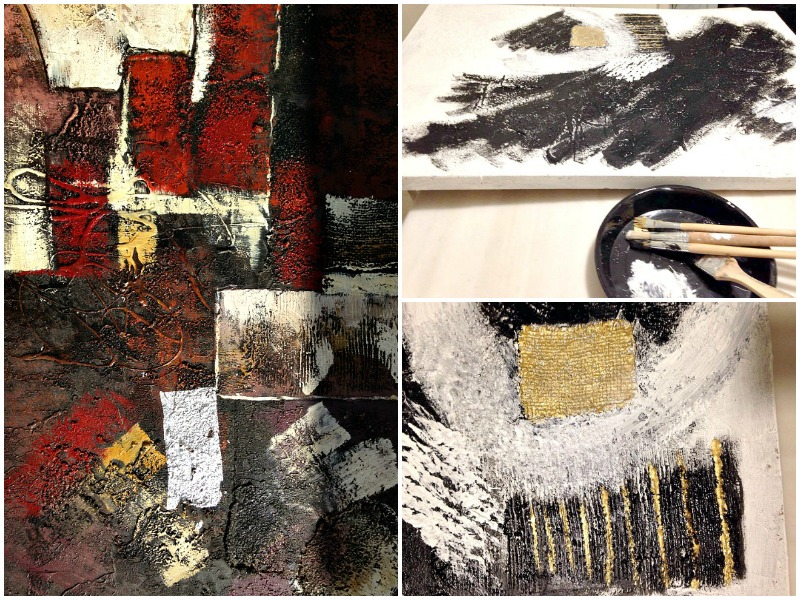 Αφηρημένη τέχνη σε άσπρο μαύρο, ασημί και χρυσό χρώμα
