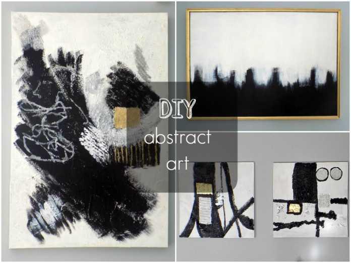 Αφηρημένη τέχνη σε άσπρο μαύρο diy