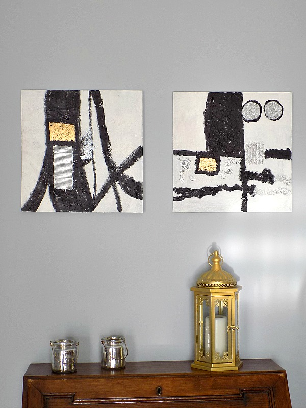 Siliver, white, black, gold abstract art diy