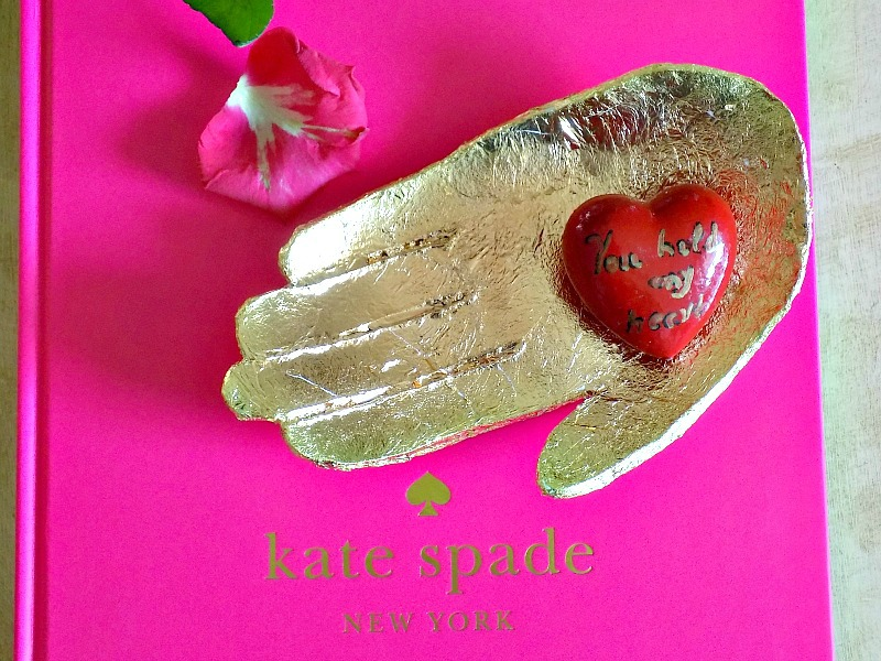Valentines art, clay sculptural hand dish