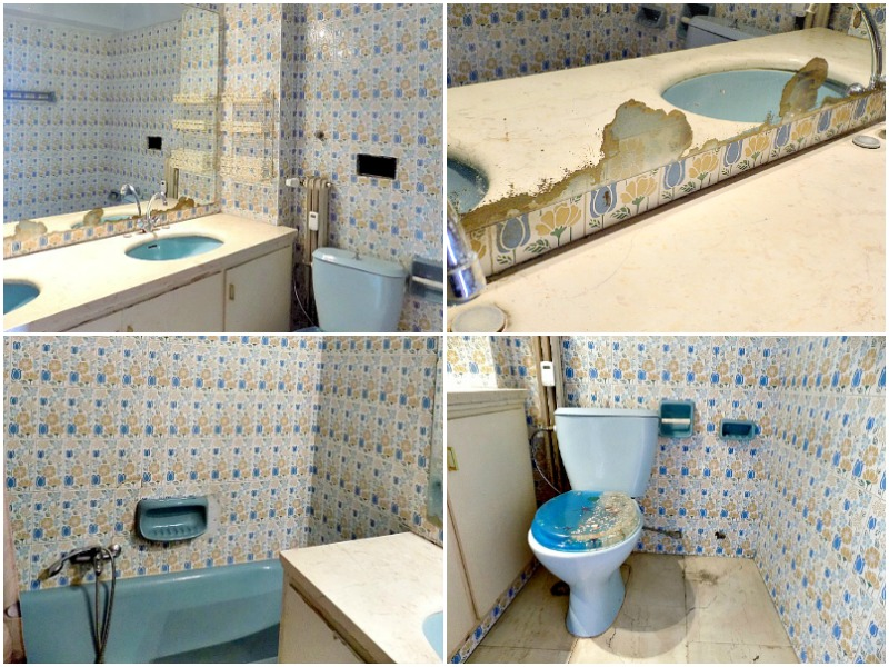 Outdated rental master bathroom