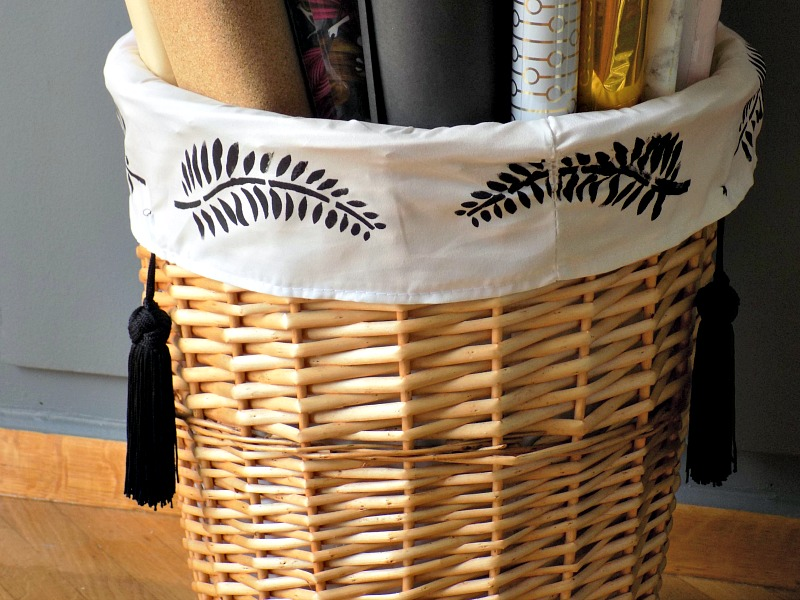 Stencils and tassels on a basket