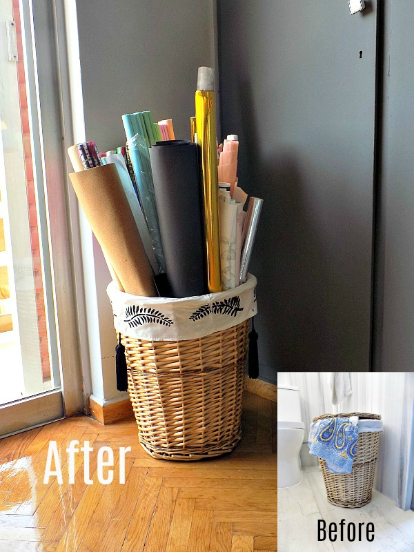 Before and after of a laundry basket