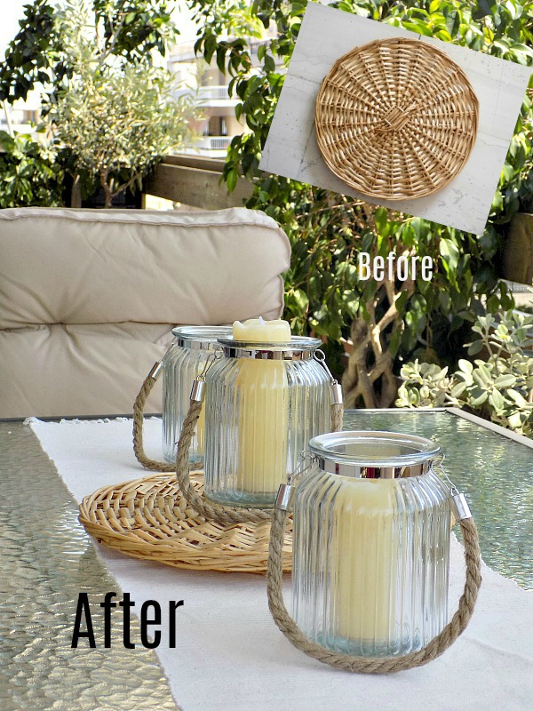 Before and after of a wicker lid
