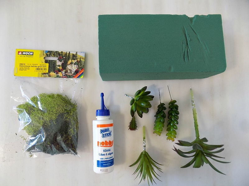 What we need to make a faux succulent garden
