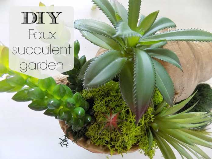 Faux succulent garden in a shell