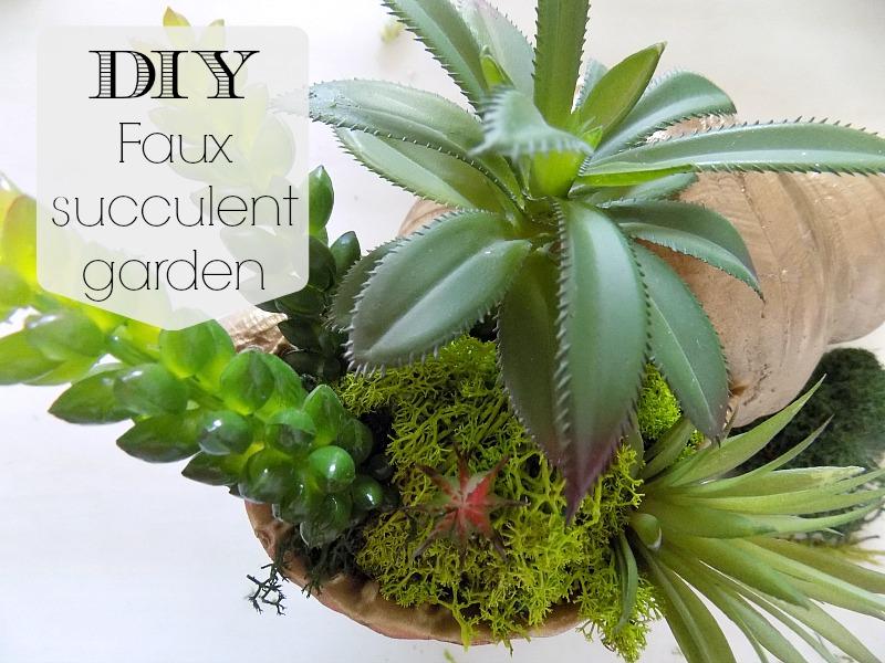 Faux succulent garden in a shell